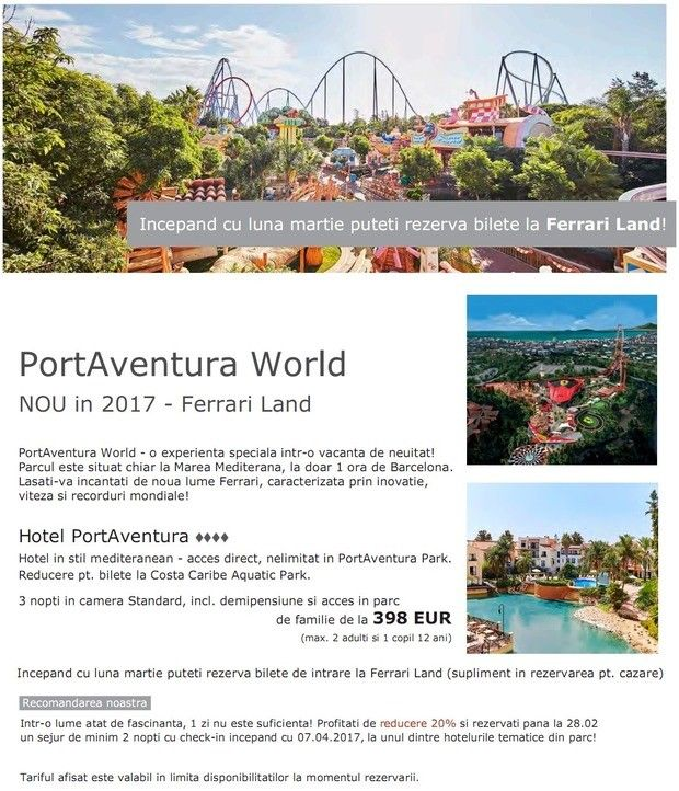 NOU! PortAventura World - Ferrari Land! EBD 20% la hotelurile din parc!