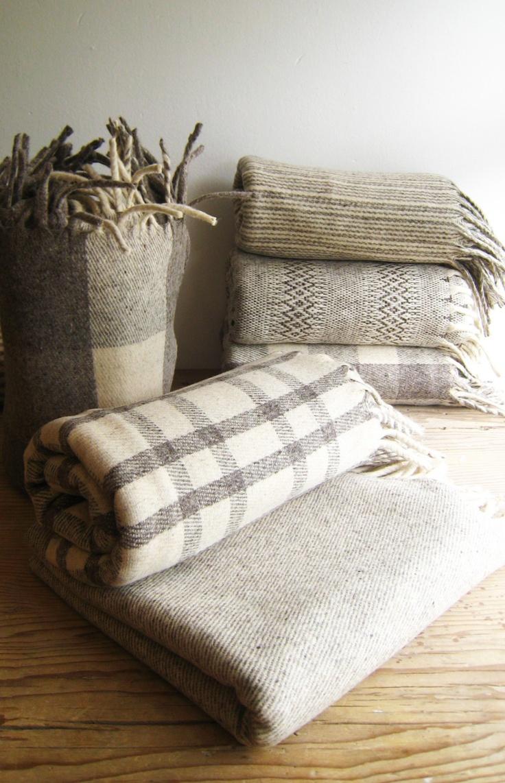 CREAM CRUZ 100 Pure Virgin Wool Blanket/Throw/Sarape by mexchic