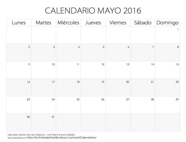 Calendarios 2016 para imprimir: Calendario Mayo 2016
