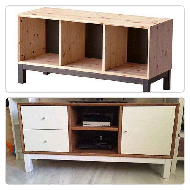 My father turned this ikea nornas bank in a tv table #