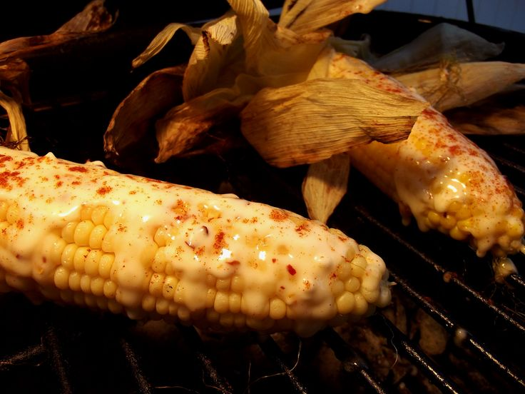 On the grill - sweet corn on the cob with chili-lime mayo ...smoked ...