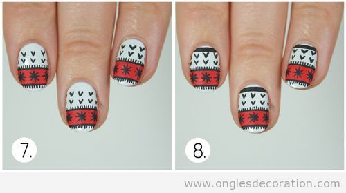 Tuto déco ongles pull-over Noël