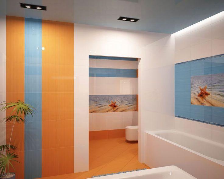 #excll #дизайнинтерьера #решения Яркий интерьер в ванной зачастую оформляют на контрасте цветов – синий и оранжевый, к примеру
