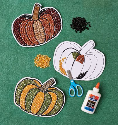 Mosaic Pumpkin---Simply cut out the template and mount on card stock, leaving -inch trim. Glue dried beans, peas, and lentils in desired pattern, and voil, a pumpkin of another color!