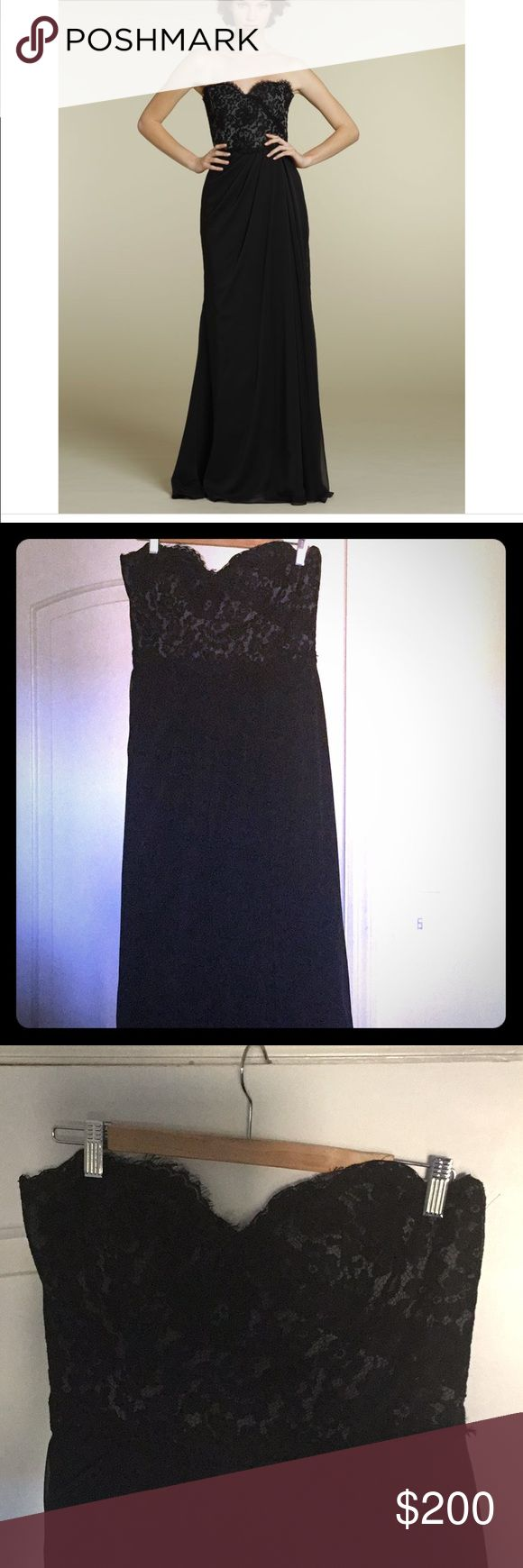 Jim Hjelm Occasions Black formal dress Black lace over chiffon dress. This is a size 16 but fits a modern 12. I have cups sewn in- I'm a 36 C. Beautiful gown for formal weddings as a guest of bridesmaid or prom! jim hjelm Dresses Strapless