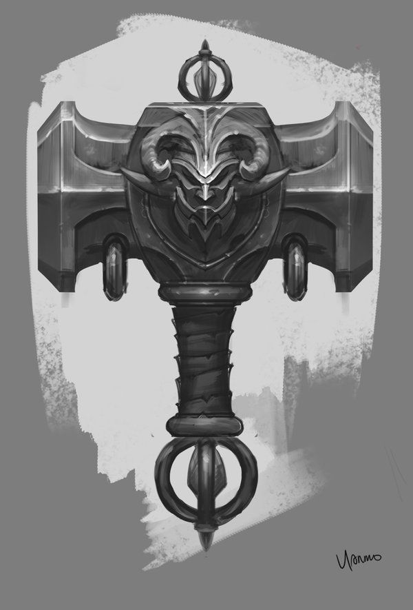 Hammer Design by YanmoZhang dwarf dwarven weapon equipment gear magic item | Create your own roleplaying game material w/ RPG Bard: www.rpgbard.com | Writing inspiration for Dungeons and Dragons DND D&D Pathfinder PFRPG Warhammer 40k Star Wars Shadowrun Call of Cthulhu Lord of the Rings LoTR + d20 fantasy science fiction scifi horror design | Not Trusty Sword art: click artwork for source