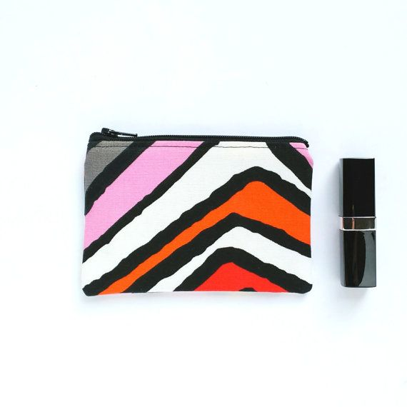 Zebra Stripes Coin Pouch Lipstick Pouch Ear Buds by OneBusySloth