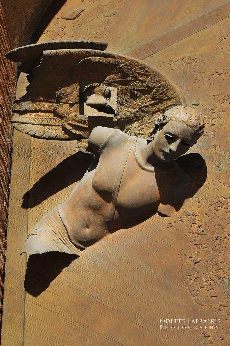 """Metaphysical Angel of Igor Mitoraj"", Digital Photography  (Door of Santa Maria degli Angeli e Martiri, Piazza Ezedra in Rome), Odette Lafrance"