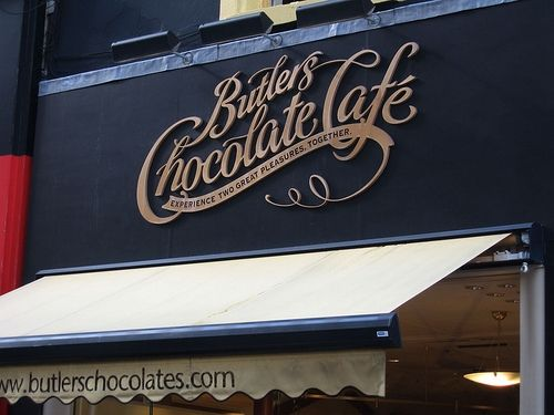 Butler'sButler Chocolates, Signs Design, Chocolates Cafes, Butter Chocolates, Interiors Design, Chocolates Café, Graphics Design, Hot Chocolates, Vintage Inspiration