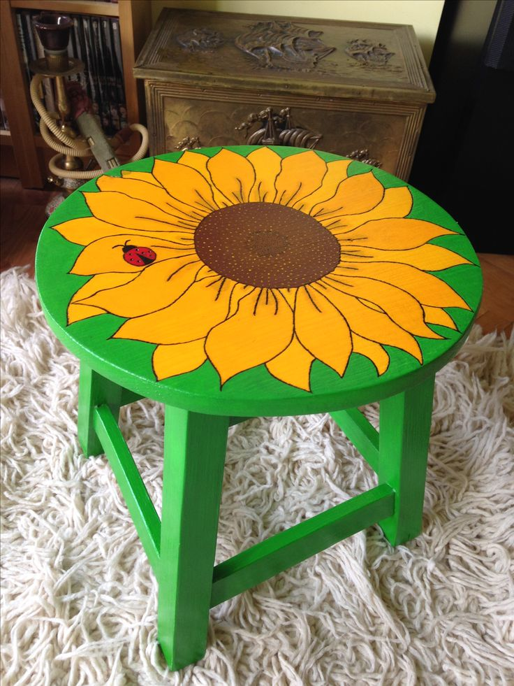 Handpainted wood chair