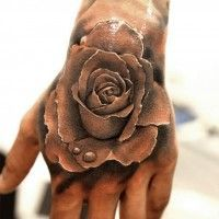 Men Rose Hand Tattoo