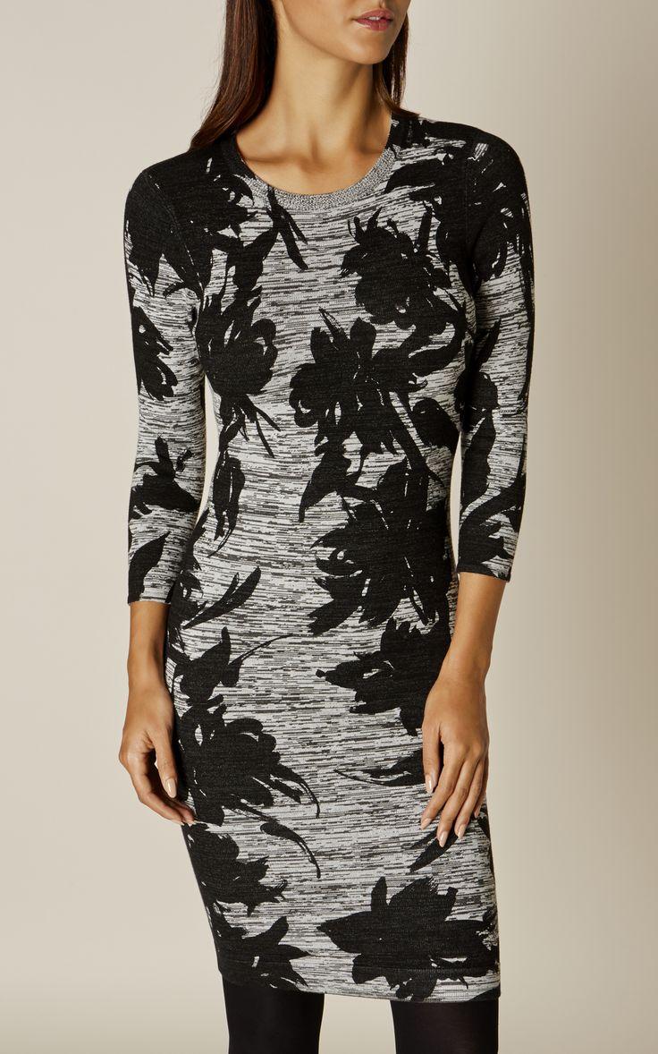 Karen Millen, FLORAL KNIT DRESS Grey/Multi