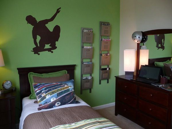 green boys room with wall decals what will be perfect for decorating teen boys room