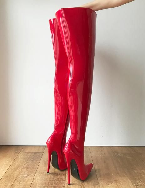 a2c48f07ac8 RTBU CHRIS Hard Shaft Customized Crotch Hi 18cm Stiletto Boot Red Patent