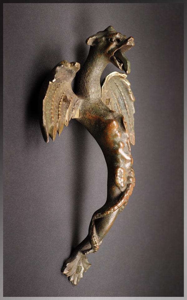 Antique 18th Century French Bronze Dragon Ch 226 Teau Door