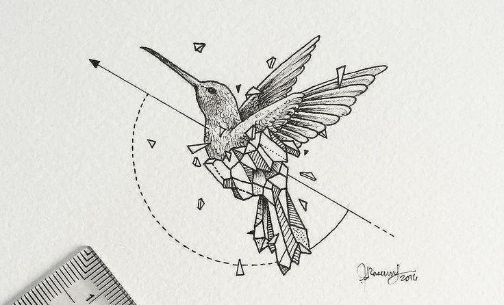 Geometric hummingbird tattoo design • Visit artskillus.ru for more tattoo ideas