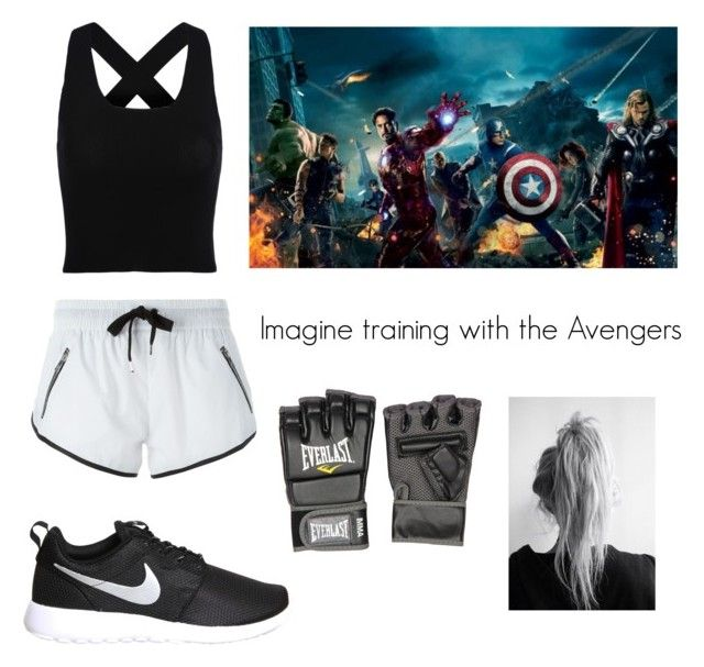 """Imagine training with the avengers"" by brittneycf ❤ liked on Polyvore featuring L'urv, NIKE and Everlast"