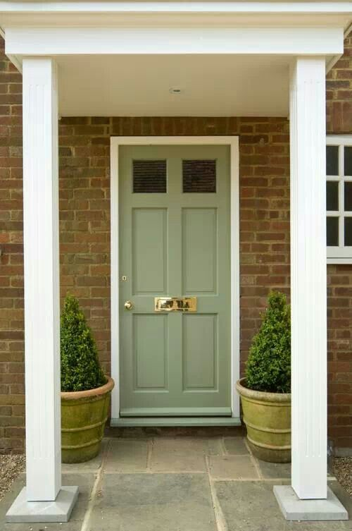 Front door color: Farrow & Ball - Lichen exterior in eggshell.                                                                                                                                                      More