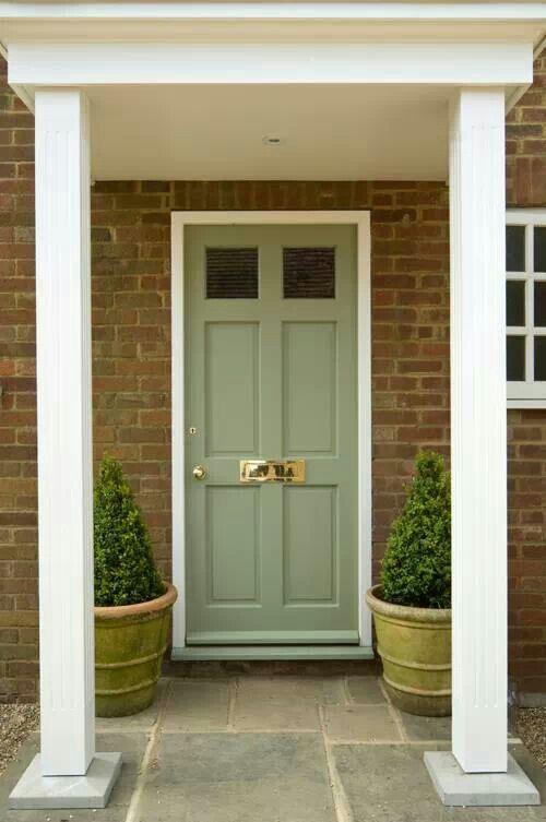 Front door color: Farrow & Ball - Lichen exterior in eggshell. More