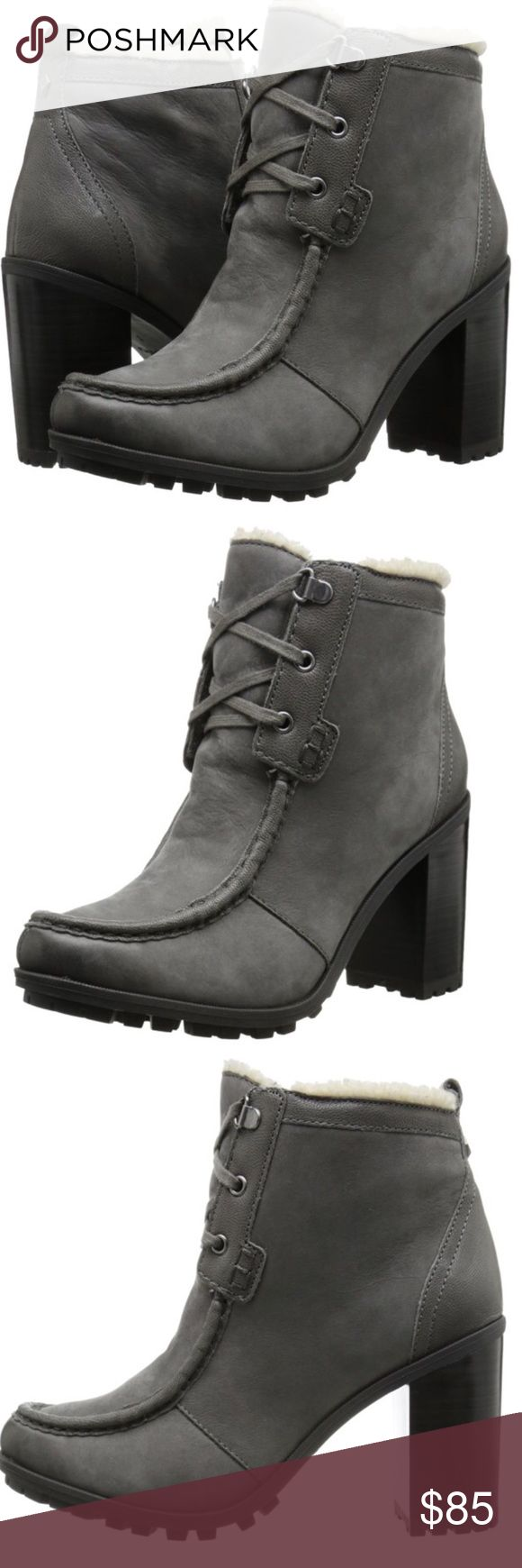 Sam Edelman Winter Heel Boots Cozy Sam Edelman booties made from faux shearling. Lace-up closure. Stacked heel. Lug sole. Sam Edelman Shoes Heeled Boots