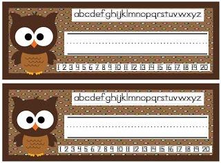 Owl name tags freebie