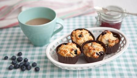 """Some gluten-free blueberry muffins. The recipe says """"1 egg, preferably free range"""", but we all know that should read """"at the very least free range"""" (and that applies to the butter, buttermilk and milk as well :) )"""