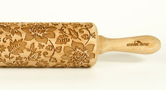 Shabby chic VINTAGE FLOWERS 1 Rolling Pin by ArtWoodenCorner