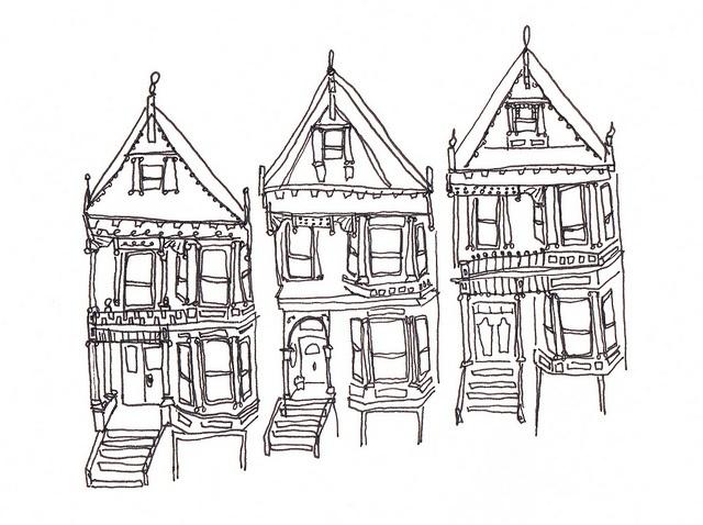 lines of Victorians in San Francisco, CA...