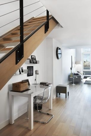 Contemporary Hallway with Laminate floors, West Elm Parsons Desk, Ikea tobias chair, Authentic Models Porthole Wall Mirror