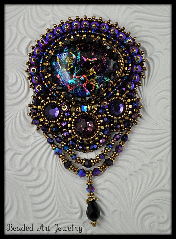 Beaded Beadwork Bead Embroidered For the Love by beadedartjewelry, $189.00