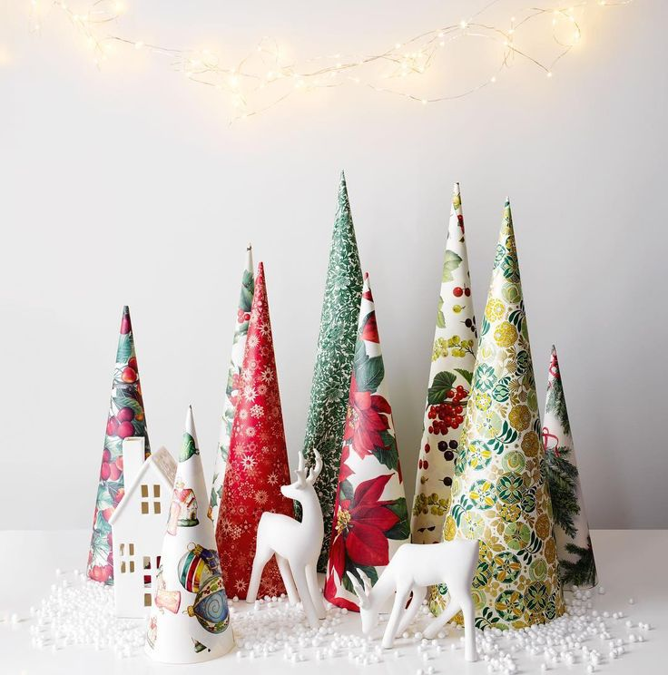 Make these cute paper cones with leftover wrapping     #DIY #DIYchristmas