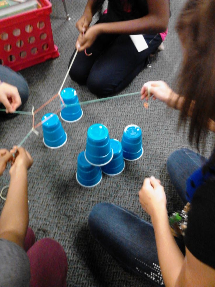 Team-building activity to build a pyramid with cups, a rubber band, and string