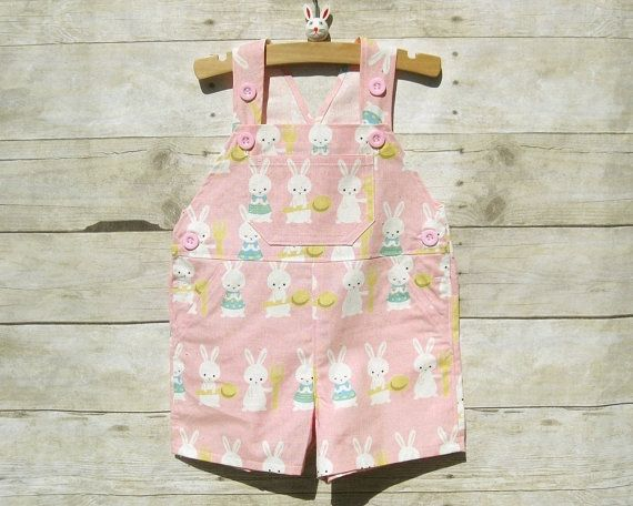 Shortall in Pink Easter Bunnies by OverallBaby on Etsy