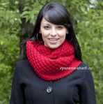 Мобильный LiveInternet Красный шарф-хомут с плетеным узором (спицы) | Асиат - Дневник Асиат |