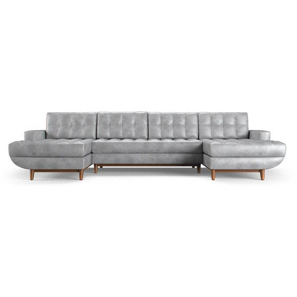 gervin mid century modern purple leather uchaise sectional 3 piece