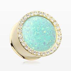 A Pair of Golden Mint Opal Elegance Multi-Gem Ear Gauge Plug-Clear/Mint Green