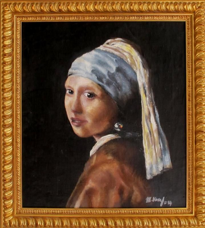 Markéta Veselá: GIRL WITH A PEARL EARRING IS LOOKING AT A RAINBOW inpirated by Jan Vermeer, oil and acryl on canvas, 55 x 50cm, 2014, With frame