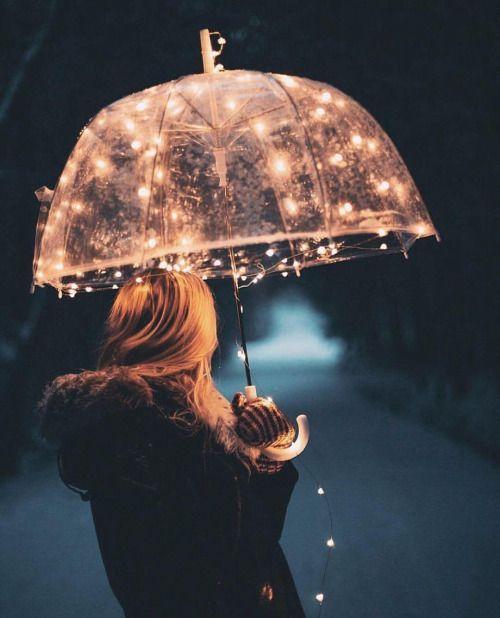 Transparent umbrella with LED light string.Awesome for rainy days!