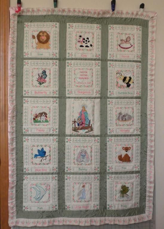 Embroidery Patterns For Quilt Squares : Baby Quilt embroidered squares Baby quilts neutral Pinterest