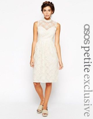 ASOS PETITE Midi Dress in Organza with High Neck - Shop for women's Dress - cream