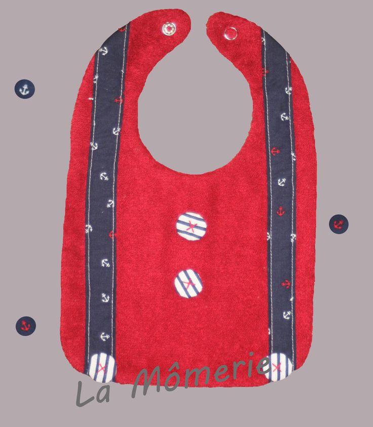 Bavoir bébé chic bretelles marines et boutons tissus rayures marines : Mode Bébé par la-momerie