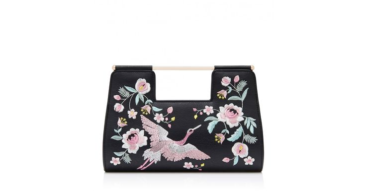 Emma Embroidered Bird Clutch Bag Black - Womens Fashion | Forever New
