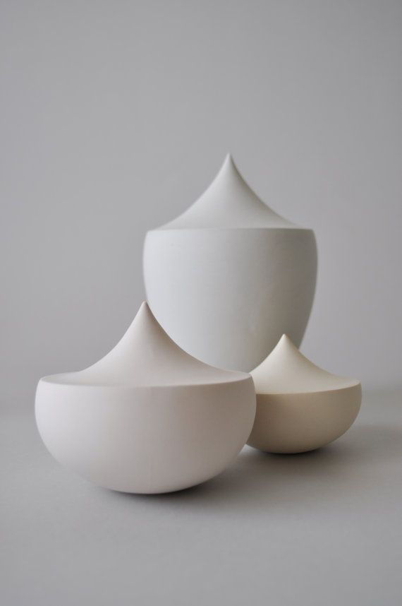 Contemporary Ceramic Sculpture Trio in pastel colors / Porcelain matte vessel / Ceramic Art Object / Modern ceramic design / Vanitas