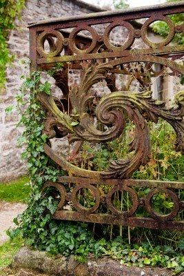 Rusty detail of a medieval grave decoration in Lacock village in England Stock Photo
