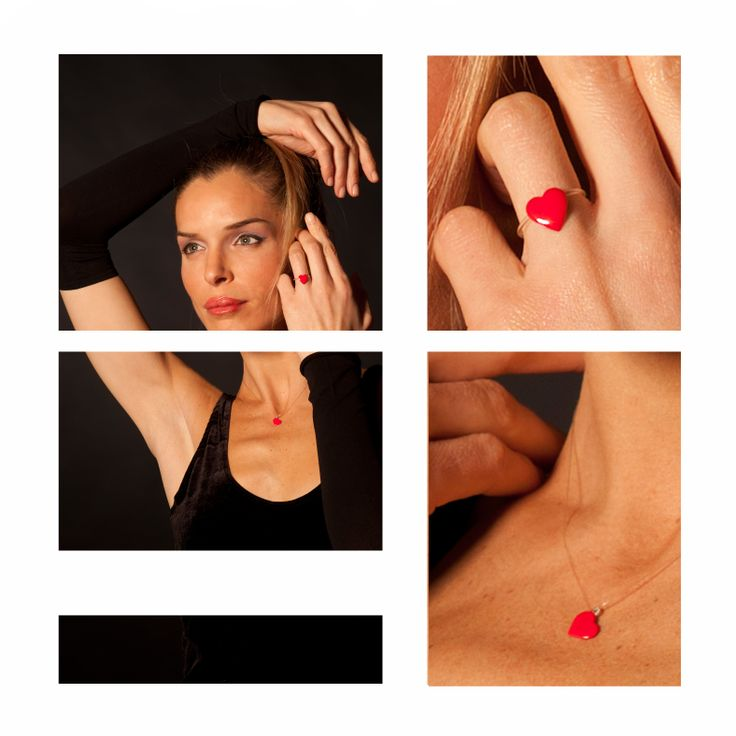 Invisibles Red heart... ring and necklace