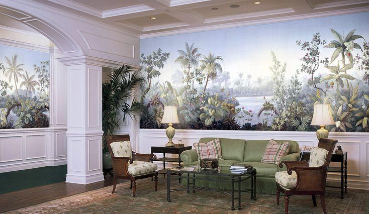 Paul montgomery studio panoramic wallpaper palmera for Colonial mural wallpaper