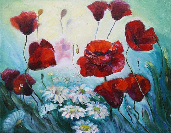 RED POPPIES by ELENA ANTAKOVA.   Belongs to the gallery RUSSIAN ARTISTS NEW WAVE.  Red Poppies and white Daisies amongst the grass in the summer meadow,  #RussianArtIstsNewWave #ElenaAntakova #FloralDecor #Poppies #Flowers #painting #OriginalPaintingForSale #ArtForSale #ArtForHome #HomeIdeas #Decoration #Summer