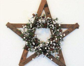 Primitivo estrella - pino cono corona - guirnalda de invierno - vacaciones-puerta Decor - casa de campo rústica corona - tabaco torno - Texas Star