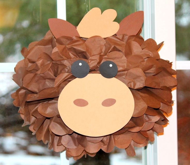 Horse pony tissue paper pompom kit Old MacDonald farm party. $9.99, via Etsy.