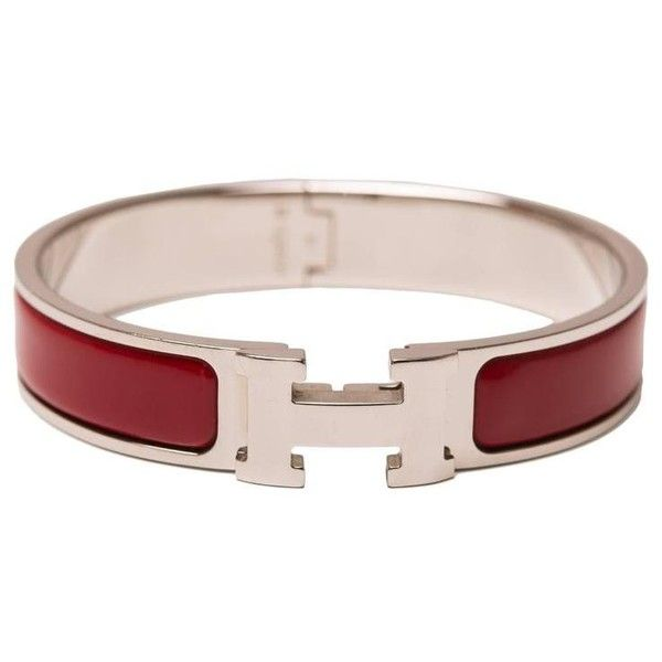 Preowned Hermes Clic Clac H Burgundy Narrow Enamel Bracelet Pm (840 CAD) ❤ liked on Polyvore featuring jewelry, bracelets, red, hermes bangle, red bangles, red jewelry, hermes jewelry and hermès